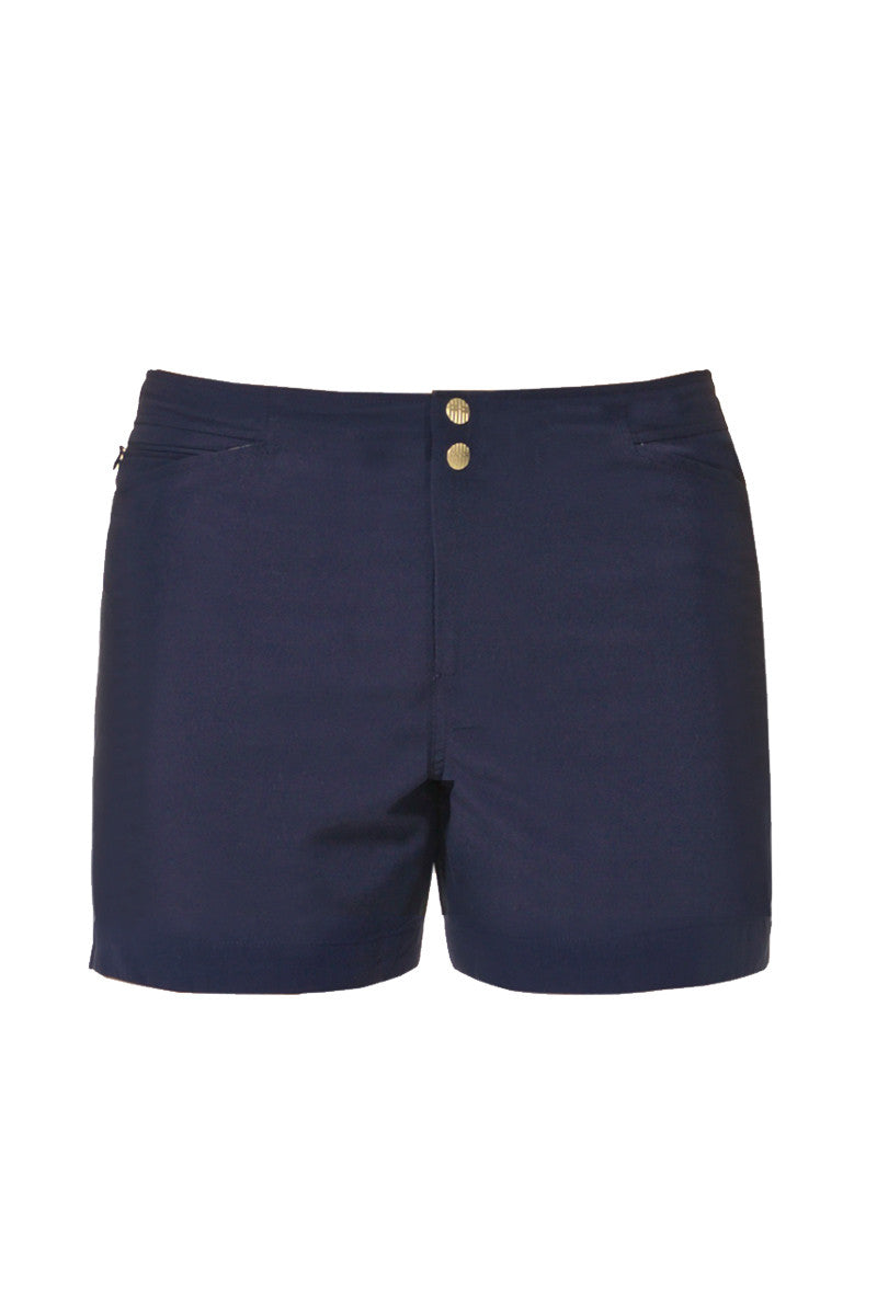 J.LIN Yachter Mid Length Swim Trunks - Crisp Green / Classic Navy Mens Swim | Classic Navy|