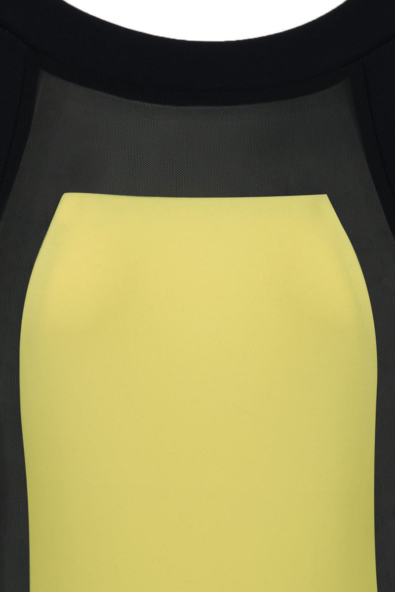 ZIGILANE Money Trees Color Block High Neck One Piece Swimsuit - Yellow & Black One Piece | Yellow & Black| Zigilane Money Trees Color Block High Neck One Piece Swimsuit - Yellow & Black High neck  Low back  Color block Thick, lined fabric Sheer fabric cut out No padding High cut leg Skimpy coverage 72% Microfiber Nylon, 28% Spandex Front View