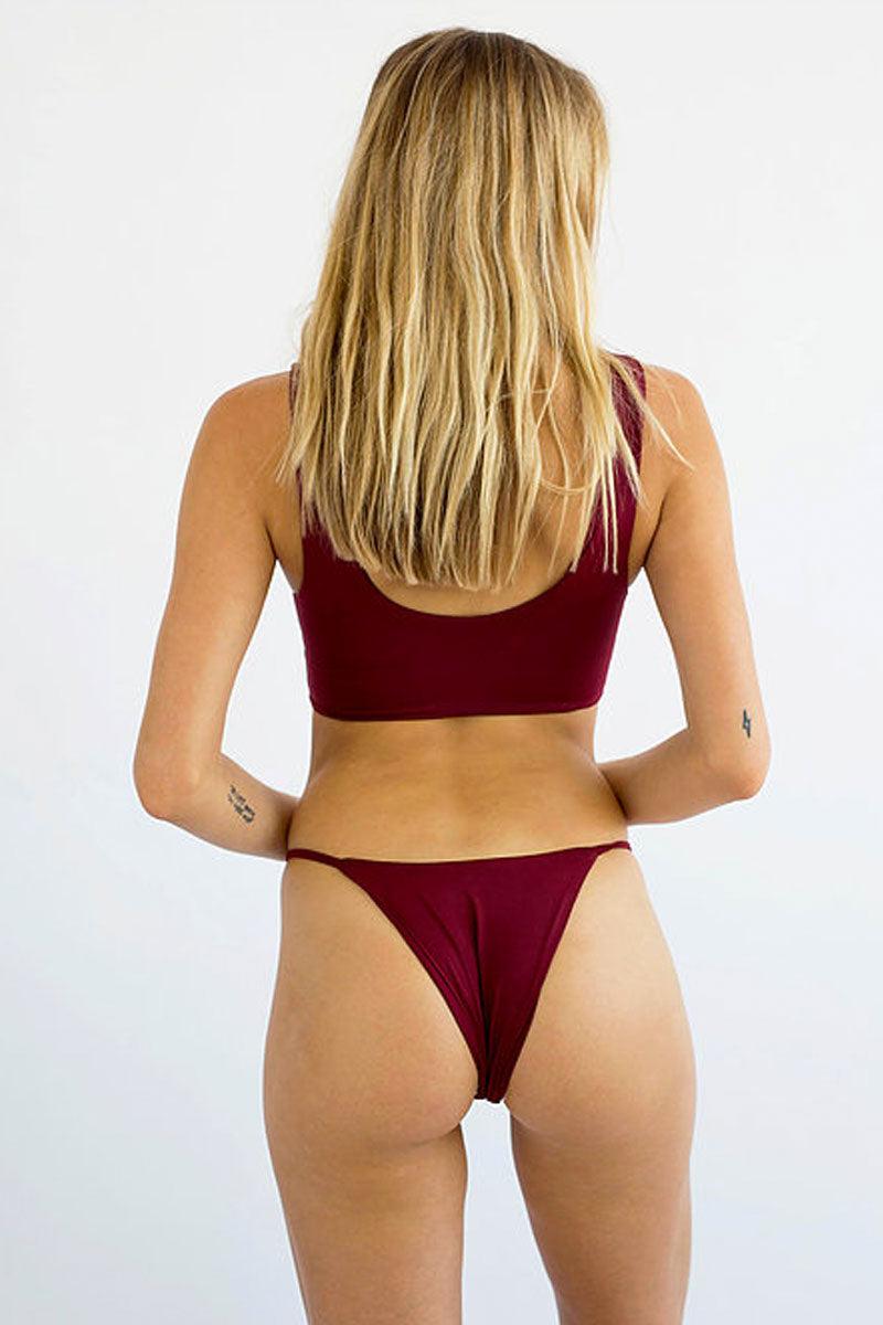 SLATE SWIM Zinc Bottom - Wine Bikini Bottom | Wine| Slate Swim Zinc Bottom Low-Rise Thin Side Straps Pull-On Style Skimpy Coverage