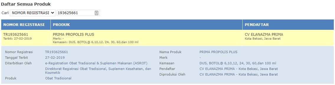 BPOM Prima Propolis Plus