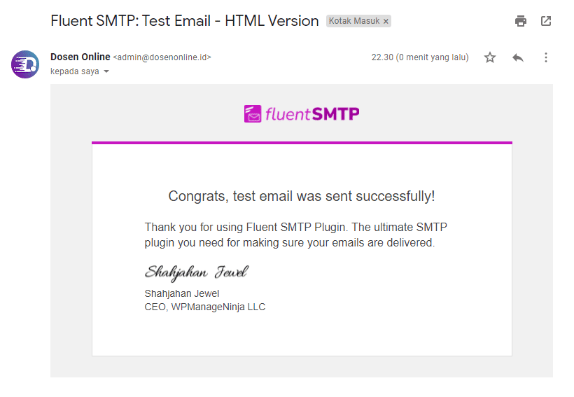 Hasil Email Test SMTP