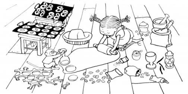Pippi bakar pepparkakor på golvet
