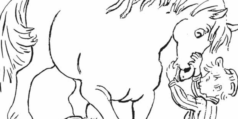 Färglägg Emil och hästen Lukas