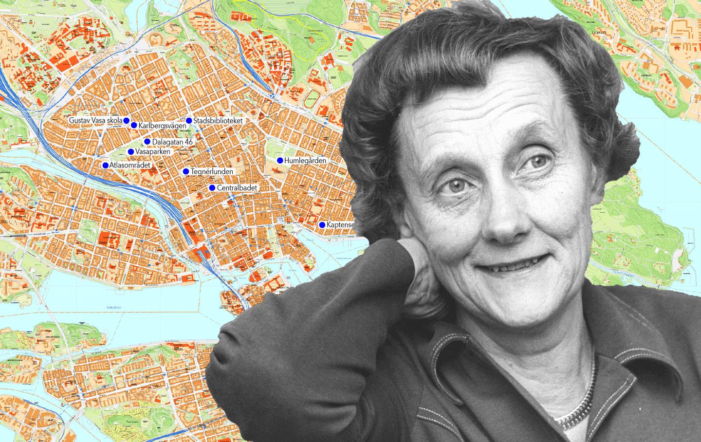 Karta över Stockholm med Astrid Lindgren i förgrunden