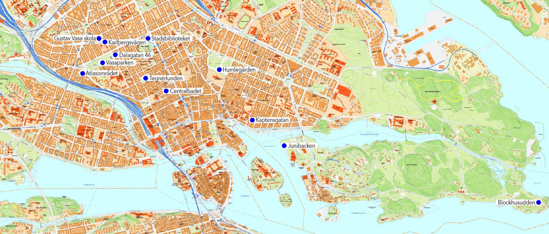 Astrid Lindgrens Stockholm - Karta där platserna i texten är markerade