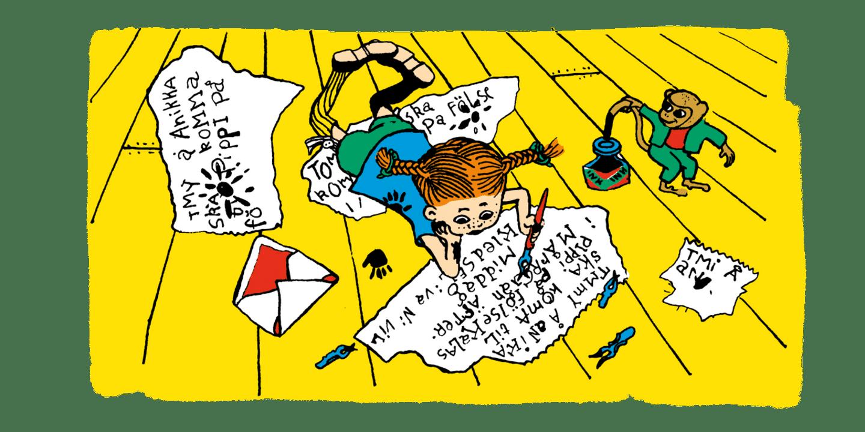Pippi skriver inbjudningskort till kalas