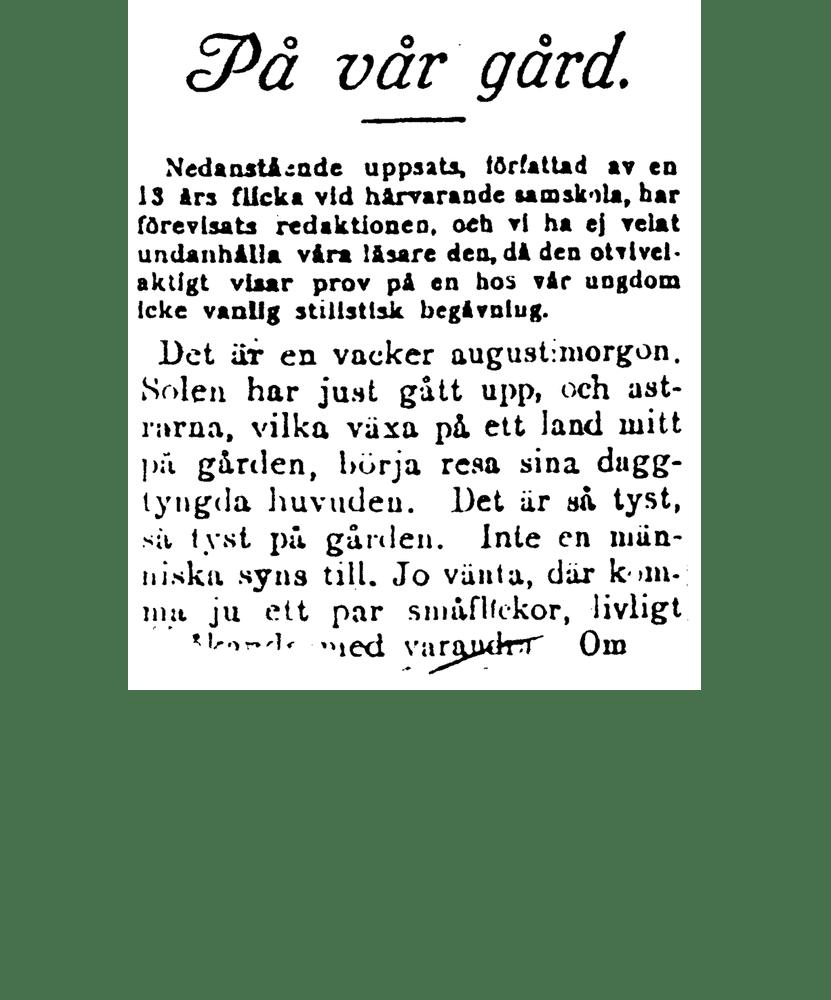 """Astrids uppsats """"på vår gård"""""""