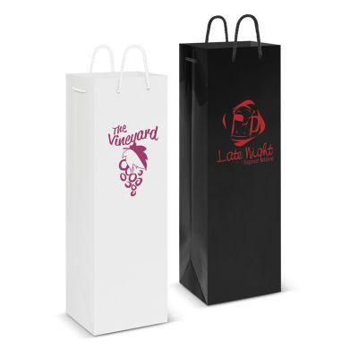 108515 Laminated Wine Printed Paper Bags With Rope Handle (12cm x 35.7cm x 9cm)
