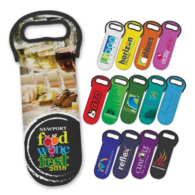 110498 Neoprene Single Bottle Printed Wine Carriers - Full Colour