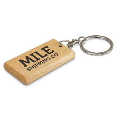 112137 Artisan Rectangle Wooden Corporate Plastic Keytags