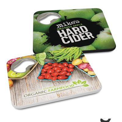 112382 Plastic Coaster And Branded Bottle Openers