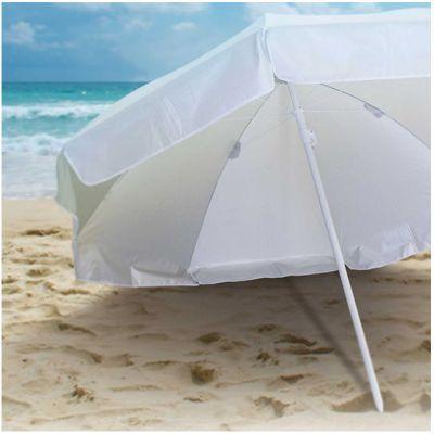 113112 Bahama 1.44m Polyester Logo Beach Umbrellas With Steel Frame & Ribs
