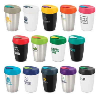 113616 350ml Express Elite Stainless Steel Personalised Re-usable Coffee Cups With Screw-On Lid And Seal Plug