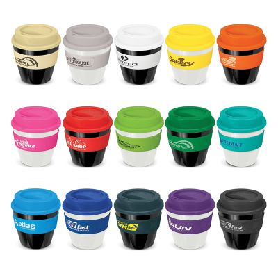 115792 230ml Express Classic Silicone Band Plastic Imprinted Re-usable Coffee Cups With Screw-On Lid