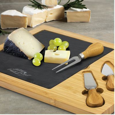 115959 Slate Branded Cheeseboards And Knives