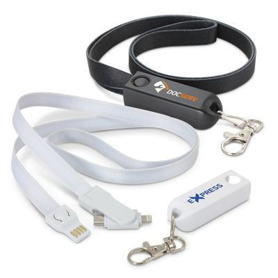 116103 Artex 3 In 1 Promotional Phone Charging Cable Lanyards