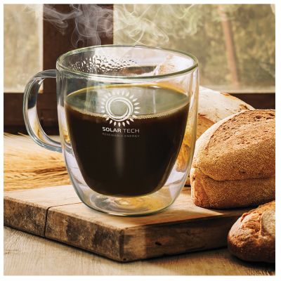 116579 310ml Riviera Double Glass Logo Coffee Cups & Mugs