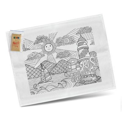 116594 Printed Cotton Colouring Tea Towels With Crayons