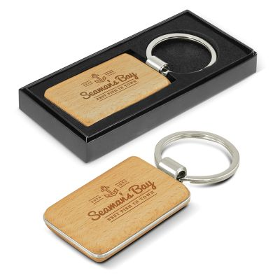 116771 Echo Rectangle Wooden Promotional Plastic Keytags
