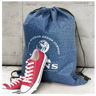 116856 Tampa Heather Branded Backpacks With Drawstring