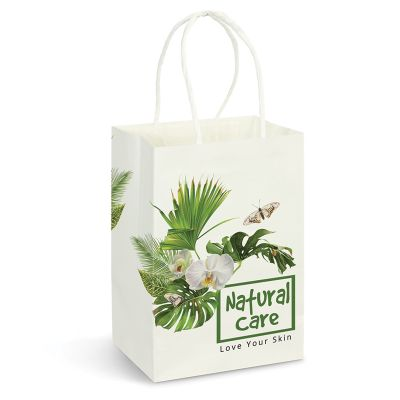 116933 Full Colour Small Custom Paper Bags With Rope Handle (13.3cm x 21cm x 8.2cm)