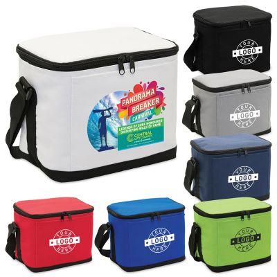 1238 6 Pack Branded Cooler Bags With Adjustable Shoulder Strap