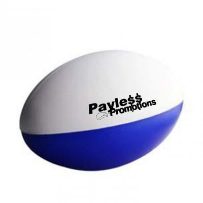 S80 Football Blue & White 2 Panels Imprinted Sports Stress Balls