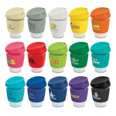 200306 340ml Nova Wide Band Tritan Printed Re-usable Coffee Cups With Soft Silicon Lid