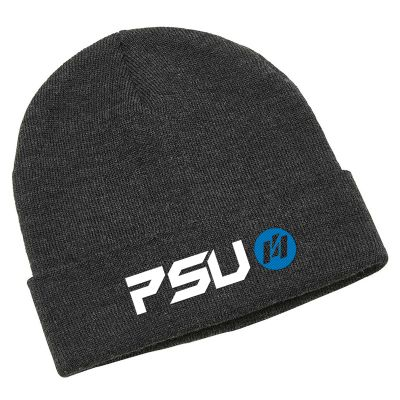 4443 Heather Roll Up Cuff Branded Beanies