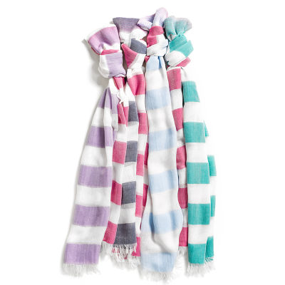 99001 Ladies Two Tone Embroidered Casual Scarves