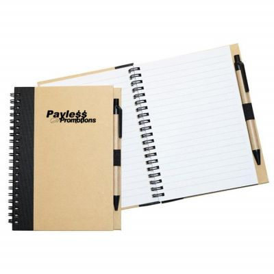 NB01 Recyclyed Cardboard Cover Promotional Enviro Notepads With Pen - 160 Pages