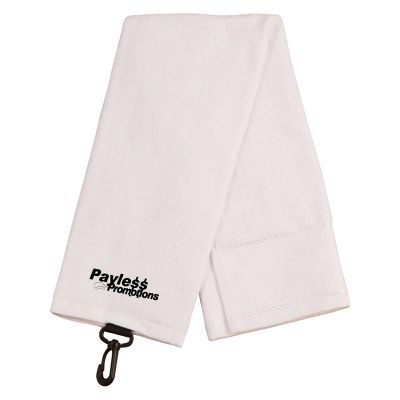 TW06 Terry Towel/Velour Logo Golf Towels With Plastic Clip