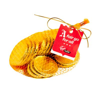 CC011D2 Mixed Denomination Australian Milk Branded Chocolate Coins In Gold Mesh Bag - 80g