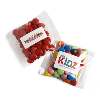 CC017B5 Smarties Look-Alike (Corporate Colours) Filled Logo Lolly Bags With Sticker - 50g