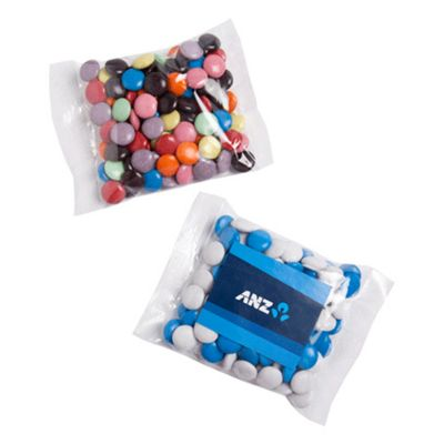 CC017C2 Smarties Look-Alike (Mixed Colours) Filled Logo Lolly Bags With Sticker - 100g