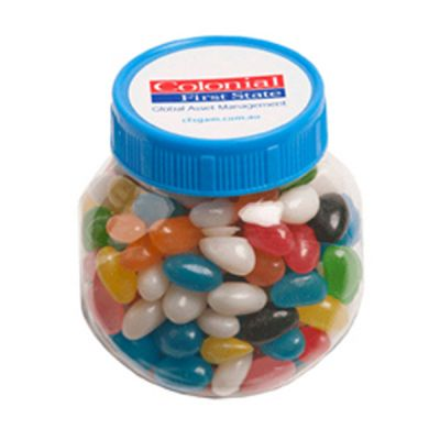 CC026A Jelly Bean (Mixed Or Corporate Colours) Filled Plastic Branded Jars - 170g