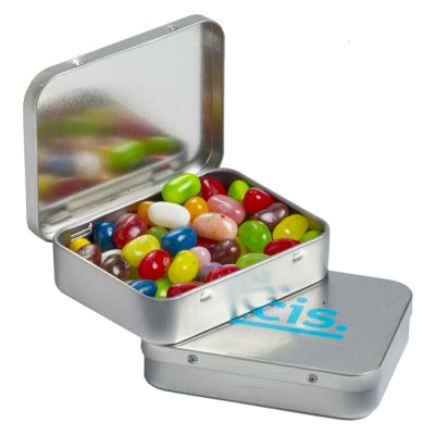 CC048F2 Jelly Belly Bean (Mixed Colours) Filled Hinge Tins With Sticker - 65g