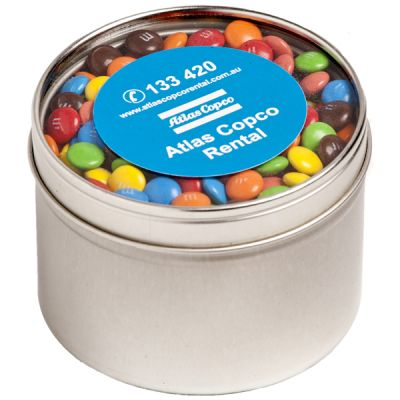 CC049E5 M&M (Mixed Colours) Filled Window-Top Tins With Sticker - 2 x 50g Bag