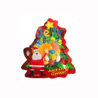 CC053A Jelly Beans (Mixed Or Corporate Colours) Filled Custom Shaped Logo Lolly Bags - 25g Or 50g