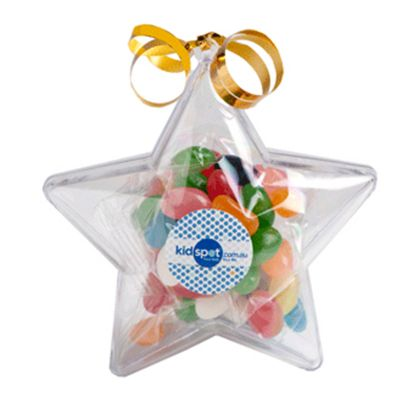 CC054A1 Jelly Bean (Mixed or Corporate Colours) Filled Branded Stars With Sticker - 50g
