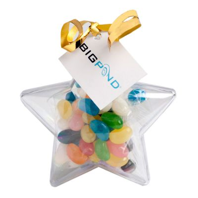 CC054A2 Jelly Beans (Mixed or Corporate Colours) Filled Branded Stars With Tag Attached - 50g
