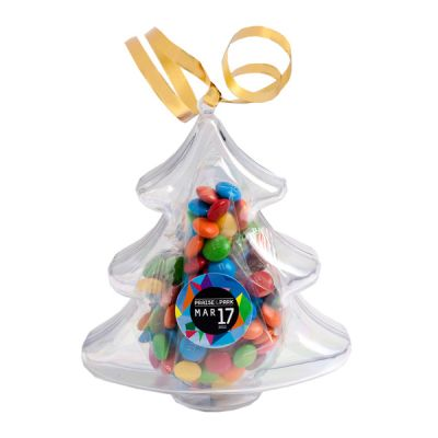 CC055B1 M&M (Mixed or Corporate Colours) Filled Custom Trees With Sticker - 50g