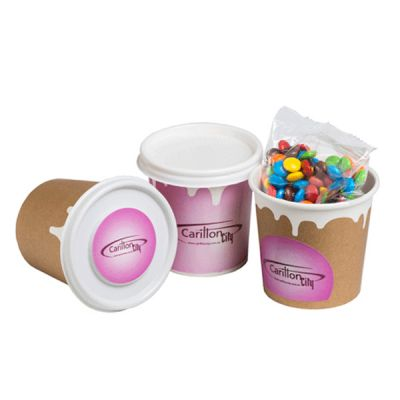 CC064C4 M&M Filled Logo Coffee Cups With Wrap Around And Lid Sticker - 50g