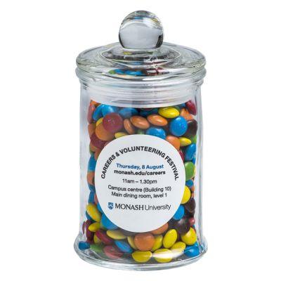 CC067D Mini M&M Filled Glass Corporate Jars - 115g