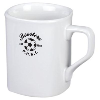 MG015W 235ml White Square Printed Coffee Mugs
