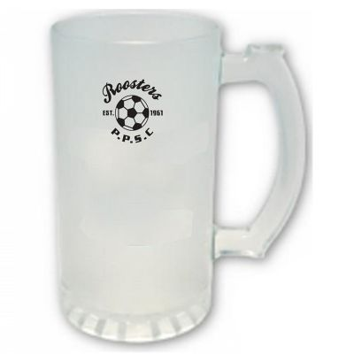 GLBMBS450F 450ml Frosted Stein Logo Glass Beer Mugs