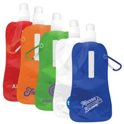 S816 Collapsible Printed Water Pouches With A Carabiner - 500ml