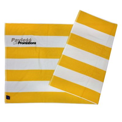 TW07 162 x 87.5cm Stripped Branded Beach Towels