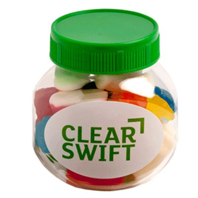 CC026F Mixed Lolly Filled Plastic Corporate Jars - 135g