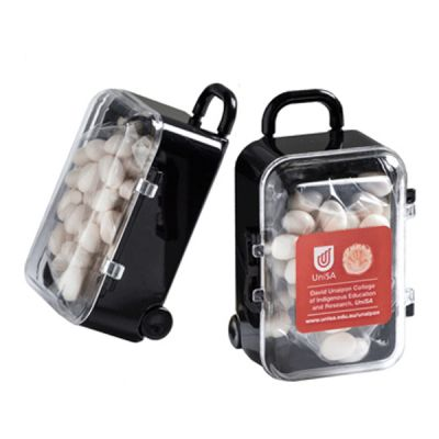 CC070B Mint Filled Branded Mini Suitcases - 50g